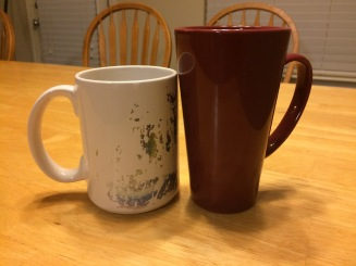 Red Tall Mug and Grandfather Mug